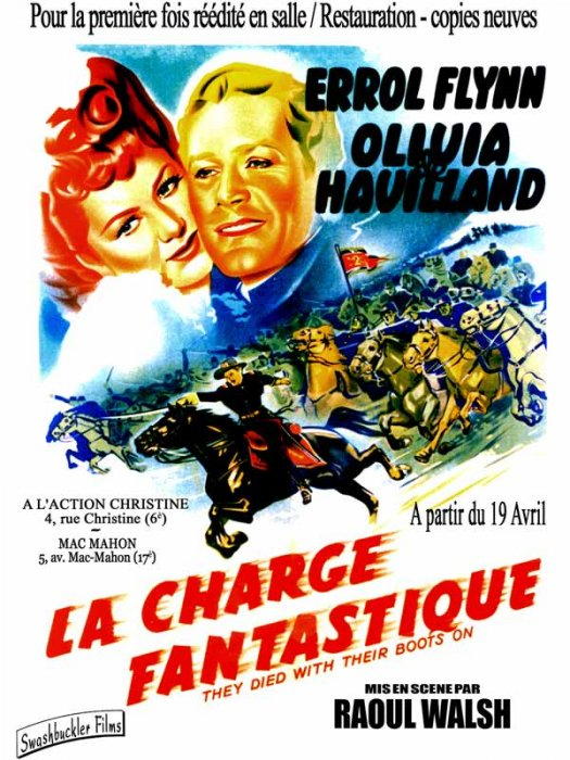 La Charge fantastique : Affiche Errol Flynn, Raoul Walsh