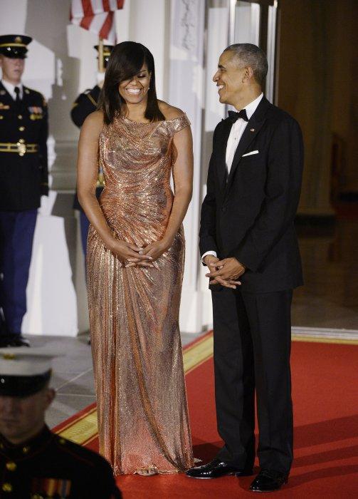 Michelle et Barack Obama lors d\