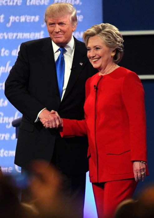 Donald Trump et Hillary Clinton lors du premier débat présidentiel à Hempstead, le 26 septembre 2016.