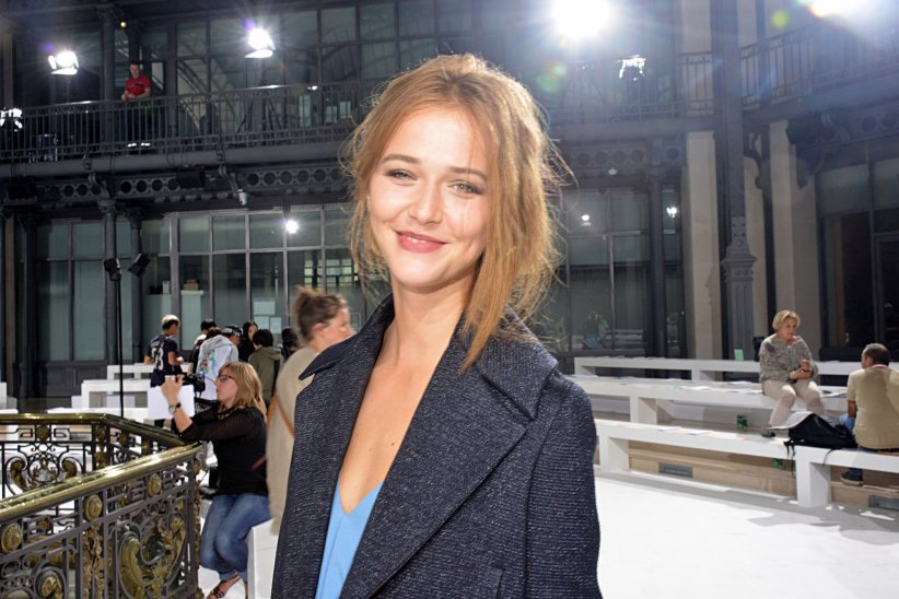Raphaëlle Dupire au défilé John Galliano lors de la Fashion Week de Paris, en septembre 2014.