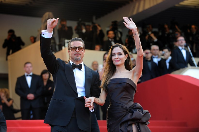 """Brad Pitt et Angelina Jolie à la projection de """"Tree of Life"""" lors du 64e Festival de Cannes, le 16 mai 2011."""