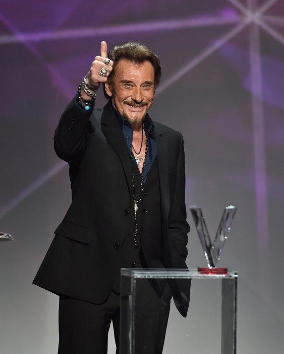 Johnny Hallyday lors des 31e Victoires de la Musique à Paris, le 12 février 2016.