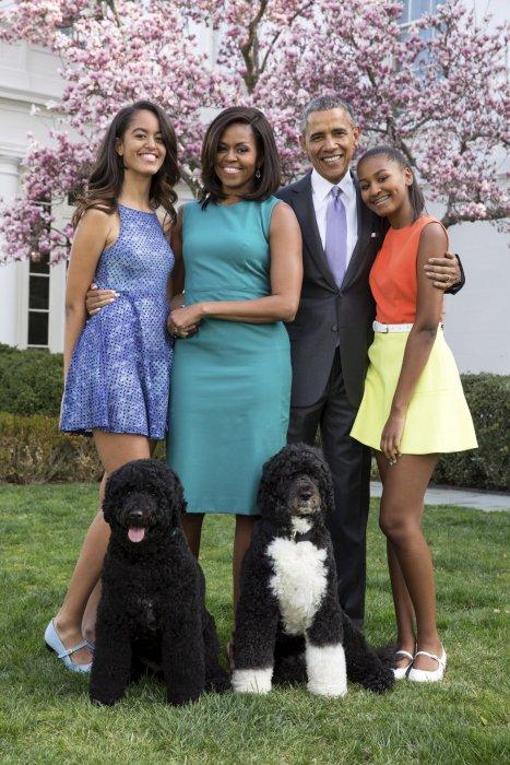 Barack Obama, Michelle Obama, leurs filles Malia et Sasha et leurs chiens Bo et Sunny dans le jardin de la Maison-Blanche à Washington, le 5 avril 2015.
