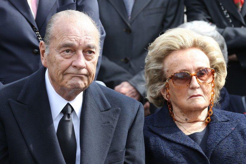 Jacques et Bernadette Chirac, aux obsèques de Antoine Veil à Paris, le 15 avril 2013.