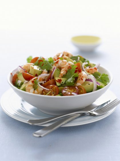 Salade composée avocat crevettes