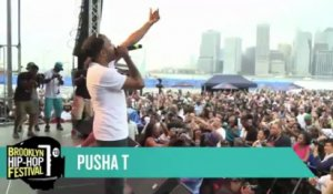 "Pusha T Raps 'I Don't Like' b/w ""Grindin'"" at the Brooklyn Hip-Hop Festival 2013"