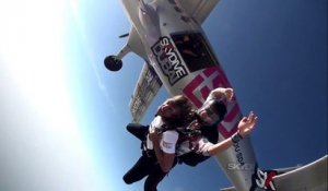 Swedish singer John Martin first skydive with Skydive Dubai
