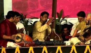The Indian violin accompanied by sitar and percussion instruments