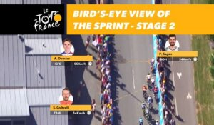 Vue aérienne du sprint / Bird's-eye view of the sprint - Étape 2 / Stage 2 - Tour de France 2018