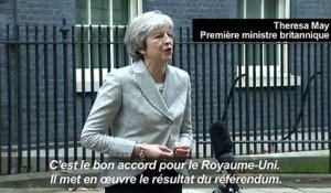 "Brexit: May défend ""un bon accord pour le Royaume-Uni"""
