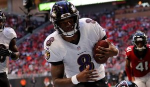 Lamar Jackson weaves through Falcons' D on option play for TD