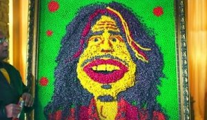 Steven Tyler confronts his portrait made of candy!