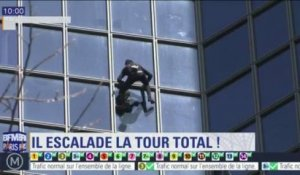 Le Spiderman français a escaladé la tour Total de la Défense