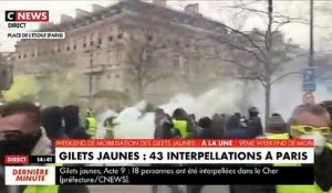 Gilets jaunes: Les images des premiers incidents à 15h Place de l'Etoile à Paris