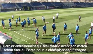 Football: entraînement du Real Madrid avant le Clasico