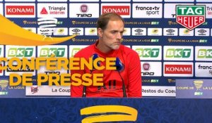 Conférence de presse Paris Saint-Germain - AS Saint-Etienne (6-1) : Thomas TUCHEL (PARIS) - Claude  PUEL (ASSE) - 2019/2020