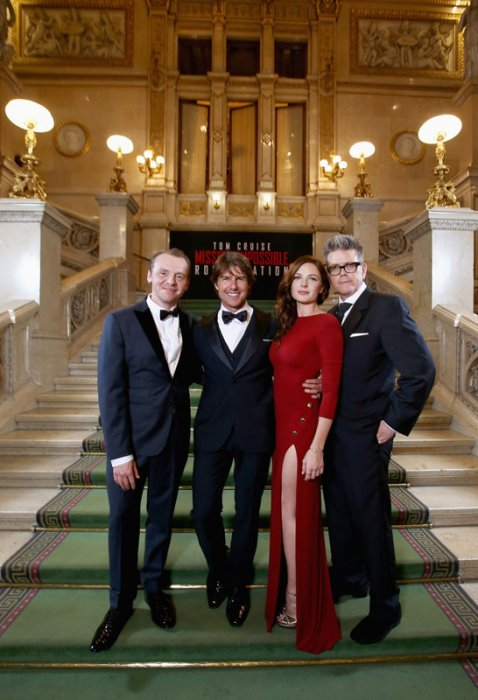 Mission: Impossible - Rogue Nation : Photo promotionnelle Christopher McQuarrie, Rebecca Ferguson, Simon Pegg, Tom Cruise
