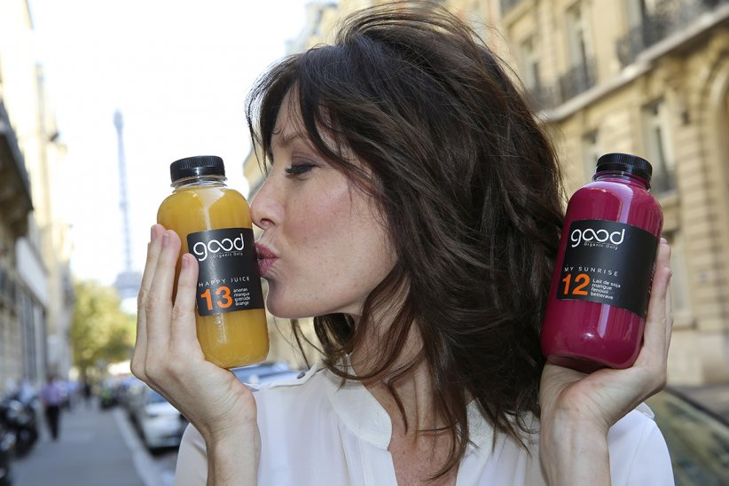 Mareva Galanter et les jus Good Organic Only.