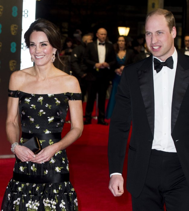 Le prince William et Kate Middleton à la cérémonie des BAFTA au Royal Albert Hall à Londres, le 12 février 2017.
