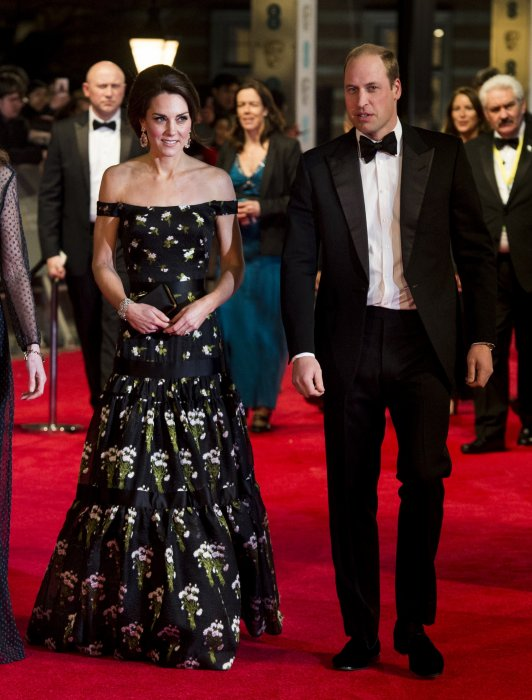 Le prince William et Kate Middleton arrivent à la cérémonie des British Academy Film Awards au Royal Albert Hall à Londres, le 12 février 2017.