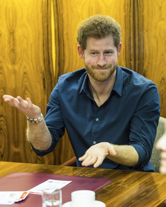 Le prince Harry au centre civique de Gateshead pour un colloque du projet Walking With the Wounded en Angleterre, le 21 février 2017.